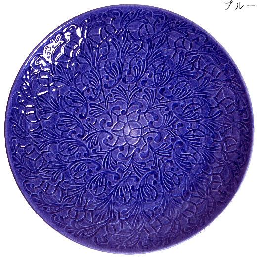 フルレースプレート(大皿) 34cmブルー