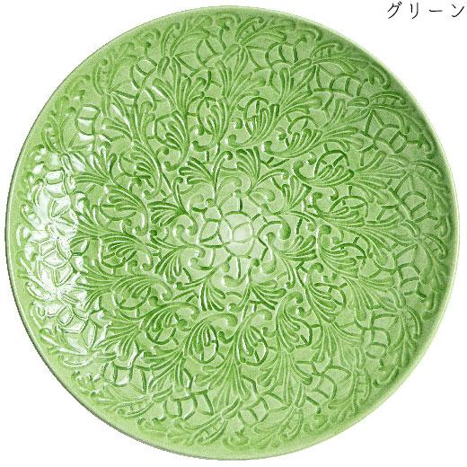 フルレースプレート(大皿) 34cmグリーン