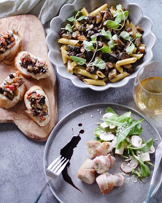 イタリア料理をマテュースの食器に盛り付け
