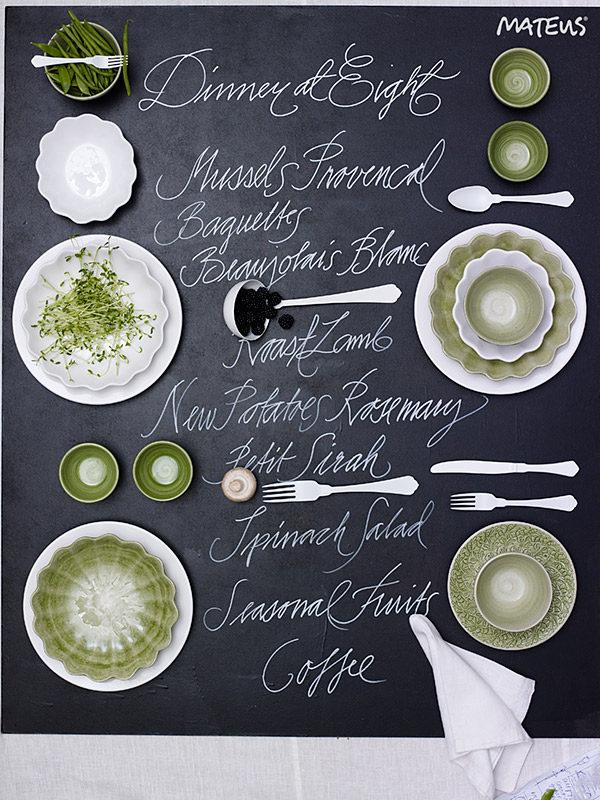 グリーンとホワイトのテーブルコーディネート