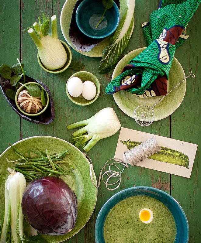 陶器製テーブルウェア グリーン・オーシャンブルー