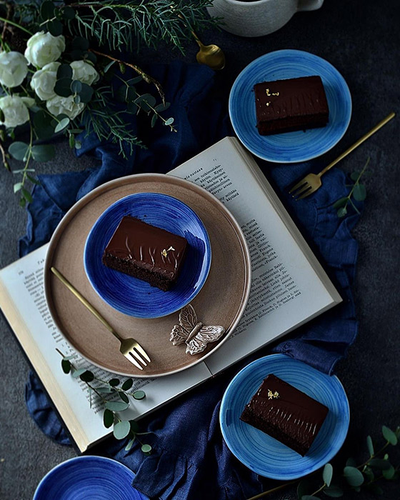 ブルー系andシナモン色の食器でインスタ映え