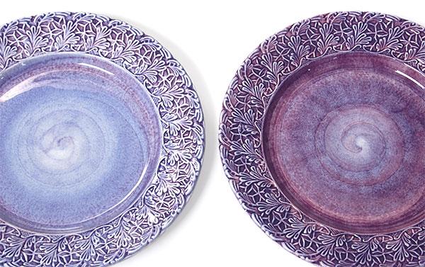 色の違いについて。パープルの食器の一例。