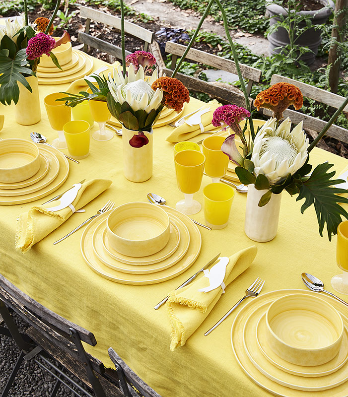 MSYのイエロー食器であたたかい陽だまりのようなテーブルコーディネート
