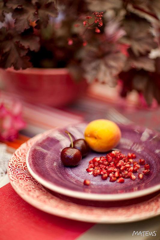 パープルとピンクのテーブルウェア アート写真