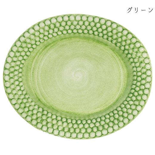 バブルス オーバルプレート 35×29cmグリーン