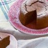 バレンタインのガトーショコラにぴったりなピンク色のレース柄のケーキ皿