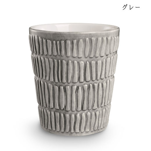 ストライプス ミディアムカップH10cmグレー